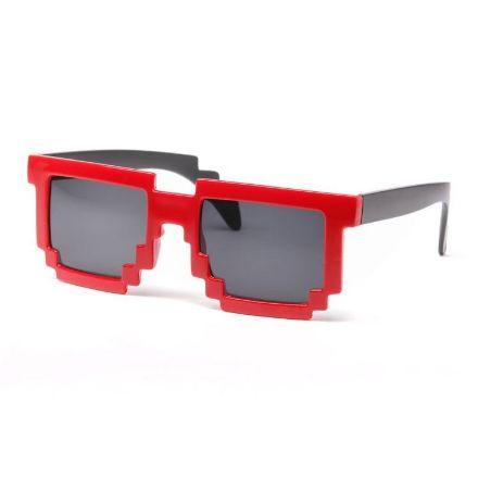 Obrazek Pikselowe Okulary 8 bit - Czerwone