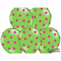 Picture of Balony - Zielone z Różowymi Kropkami