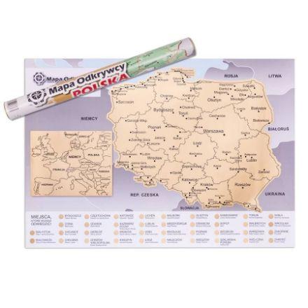 Mapa zdrapka polska prezent dla niej warszawa
