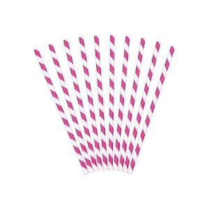 Papierowe słomki różowe gadżety imprezowe