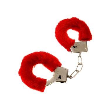 Kajdanki z futerkiem czerwone gadżety imprezowe