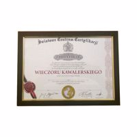 Certyfikat na wiecżór kawalerski w brązowej ramie Warszawa