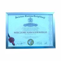 Certyfikat na wieczór kawalerski w srebrna rama