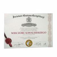Certyfikat na wieczór kawalerski na kartce warszawa
