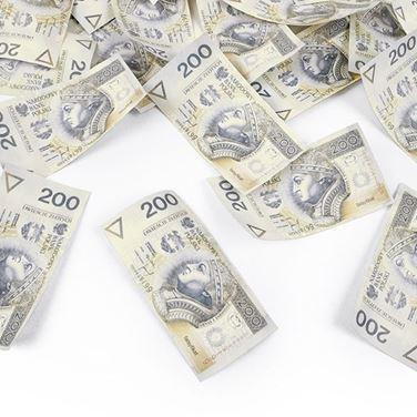 Konfetti z banknotami gadżety na imprezę