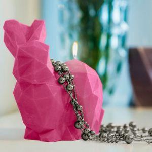 Świeca królik Poly ciemny róż prezent dla niej