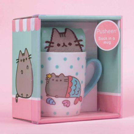 Skarpetki w kubku Syrenka Pusheen prezent dla dziewczynki