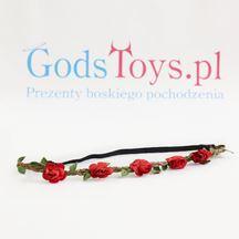 Wianek z kwiatów czerwone róże prezent na panieński