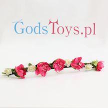 Wianek z kwiatów dalia różowo biała prezent na wieczór panieński warszawa sklep