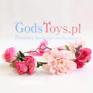 Wianek z kwiatów piwonia jacno i ciemno różowa prezent na panieńskie warszawa
