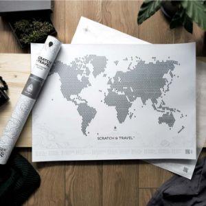 Mapa zdrapka świata LOFT whoite prezent dla dziewczyny warszawa