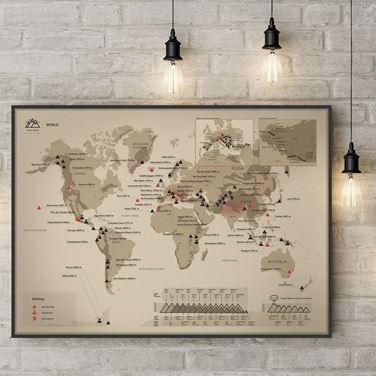 Mapa Zdrapka – Szczyty Świata prezent dla mężczyzny