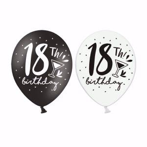 Balony na 18 Urodziny - Czarno Białe z Kieliszkiem OZDOBY NA 18 WARSZAWA SKLEP