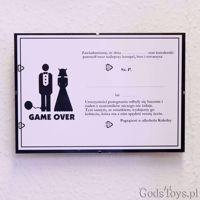 Certyfikat Kawalerski Game Over – Klepsydra wieczór kawalerski warszawa
