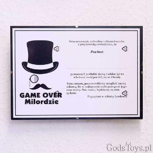 Certyfikat Kawalerski Game Over – Milordzie prezent na kawalerski warszawa