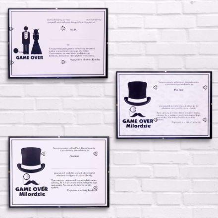 Certyfikaty Kawalerskie Game Over gadzety wieczór Kawalerski sklep stacjonarny warszawa