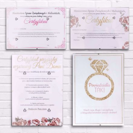 Certyfikaty na Wieczór Panieński prezent dla przyszłej panny młodej