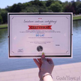 Certyfikat Urodzinowy na 50-tkę prezent na urodziny