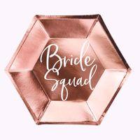 Talerzyki – Bride Squad – Różowo-Złote prezent na wieczór panieński