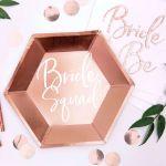 Talerzyki – Bride Squad – Różowo-Złote prezent na wieczór panieński sklep warszawa
