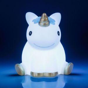 Lampka jednorożec zmieniająca kolor niebieska prezent dla chłopca na roczek