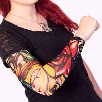 Rękaw z tatuażem kolorowe kwiaty kostium na halloween