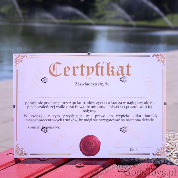 Certyfikat na 30 urodziny pamiątka z urodzin