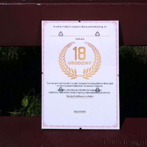 Certyfikat na 18-tkę złoto różowy laur prezent na urodziny
