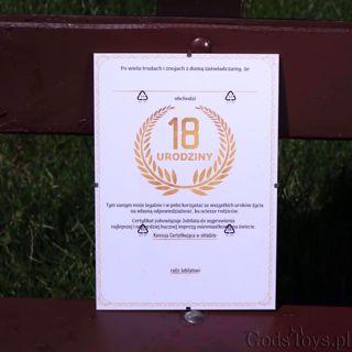 Certyfikat osiemnastkowy na urodziny prezent na 18 urodziny