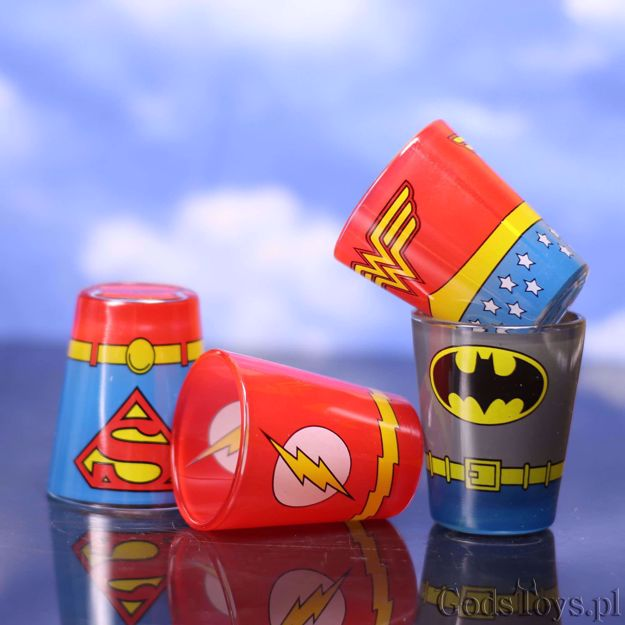 Kieliszki Kostiumy Superbohaterów prezent dla fana DC