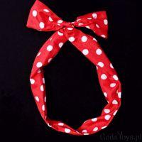 Opaska pinup czerwona w białe groszki urocze przebrania na wieczór panieński