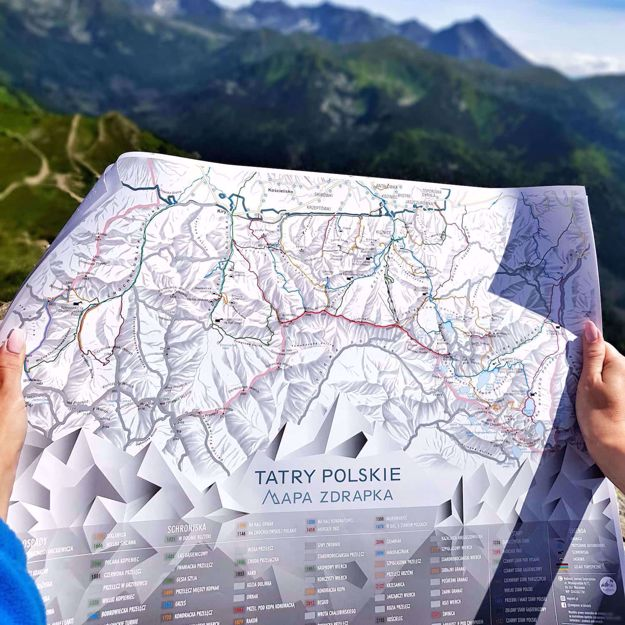 Mapa zdrapka szlaki tatr gadżety dla podróżnika