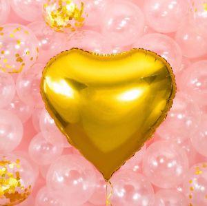 Balon foliowy wielkie złote serce pomysł na dekorację urodzinową