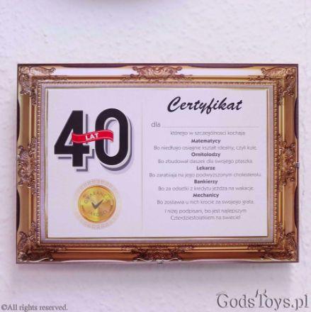 Certyfikat Urodzinowy na 40-stkę prezenty urodzinowe na 40