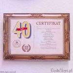 Certyfikat urodzinowy dla 40 latki dodatek do prezentu