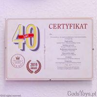 Certyfikat na 40 urodziny dla kobiety prezent na urodziny