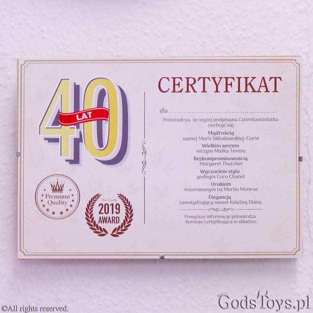 Certyfikat urodzinowy dla 40 latki dodatek do prezentu dla mamy