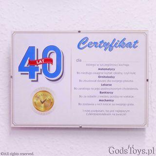 Certyfikat urodzinowy dla 40 latka pomysł na pamiątkę z 40 urodzin