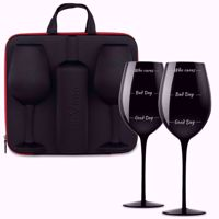 Etui na Wino z Kieliszkami czarnymi duża pojemność wino