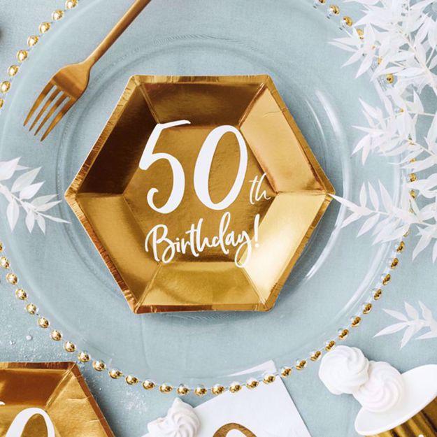 Talerzyki Urodzinowe 50 papierowe talerzyki na urodziny