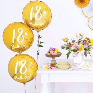 Złoty Balon Foliowy 18 gadżety urodzinowe