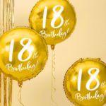 Złoty Balon Foliowy 18 dekoracje urodzinowe