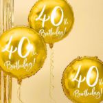 Złoty Balon Foliowy 40 prezenty na 40