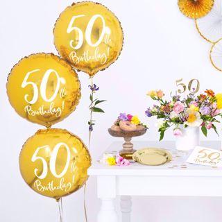 Złoty Balon Foliowy 50 gadżety na urodziny rodziców