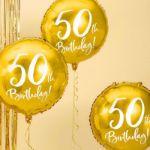 Złoty Balon Foliowy 50 prezenty na 50 dla rodziców