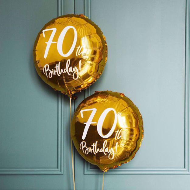 Złoty Balon Foliowy 70 dekoracje na siedemdziesiątkę