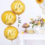 Złoty Balon Foliowy 70 dodatki na siedemdziesiątkę