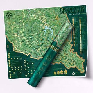 Mapa Zdrapka – Szlaki w Bieszczadach prezenty dla podróżników