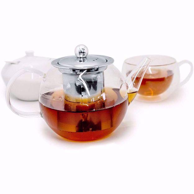 Szklany Czajnik z Sitkiem do Parzenia Herbaty czajnik z zaparzaczem 0,8l