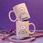 Pusheen – Kubek Hi / Goodbye śmieszny prezent dla dziewczyny
